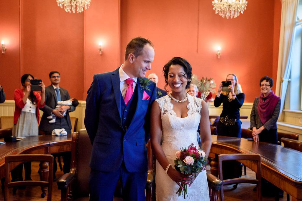 Bride and groom at Brighton Town Hall Regency Room