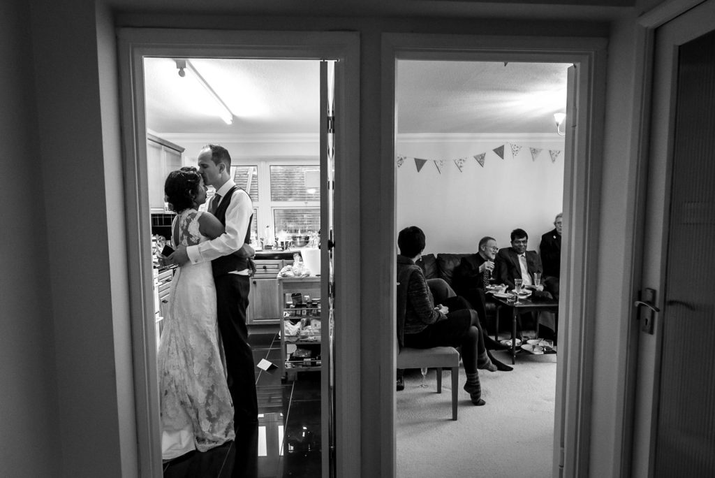 couple having their wedding reception at home