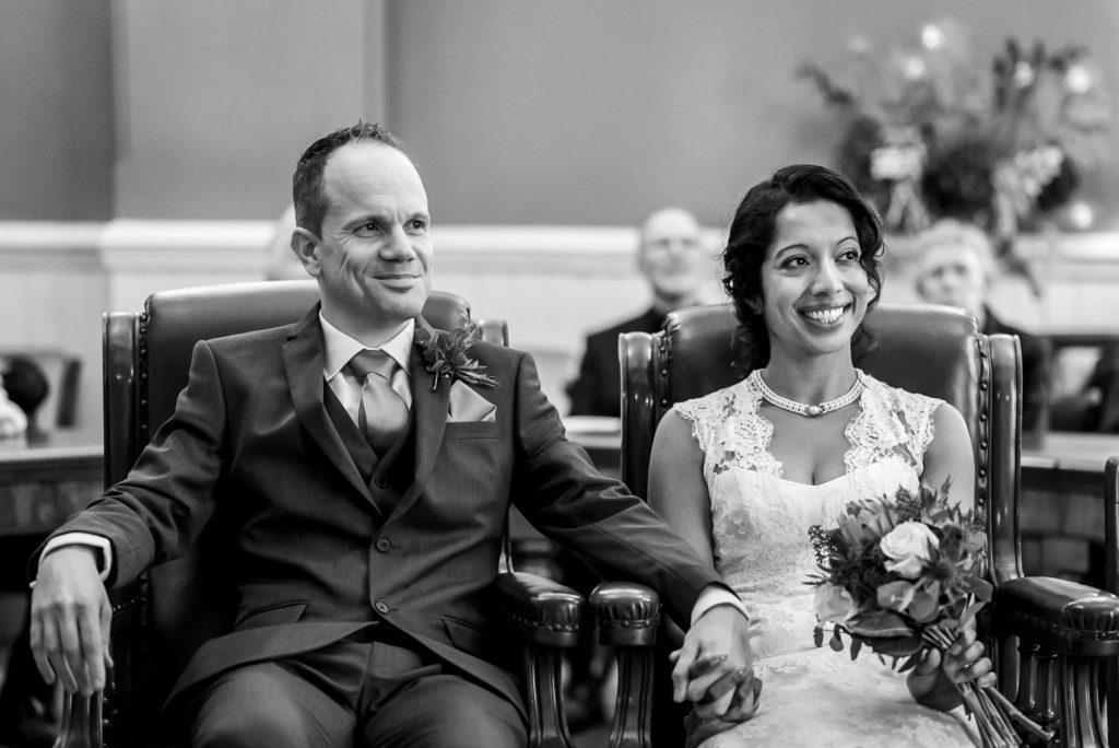 Wedding couple smiling at Brighton town hall wedding