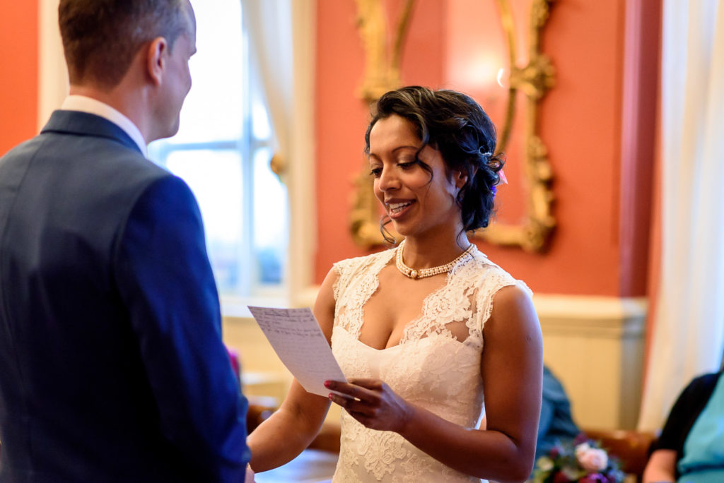 Bride making vows at Brighton Town Hall wedding