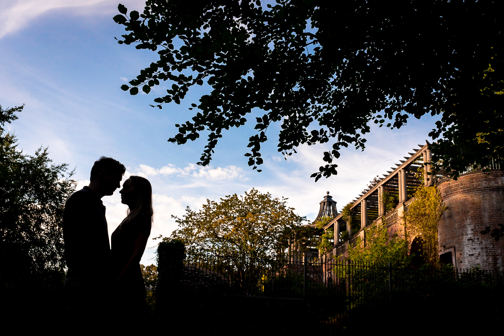 Silhouette on engagement shoot at Garden Hill and Pergola Hampstead