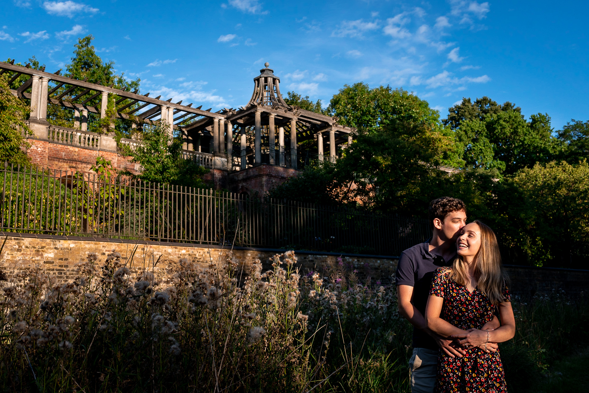 engagement shoot at garden hill and pergola