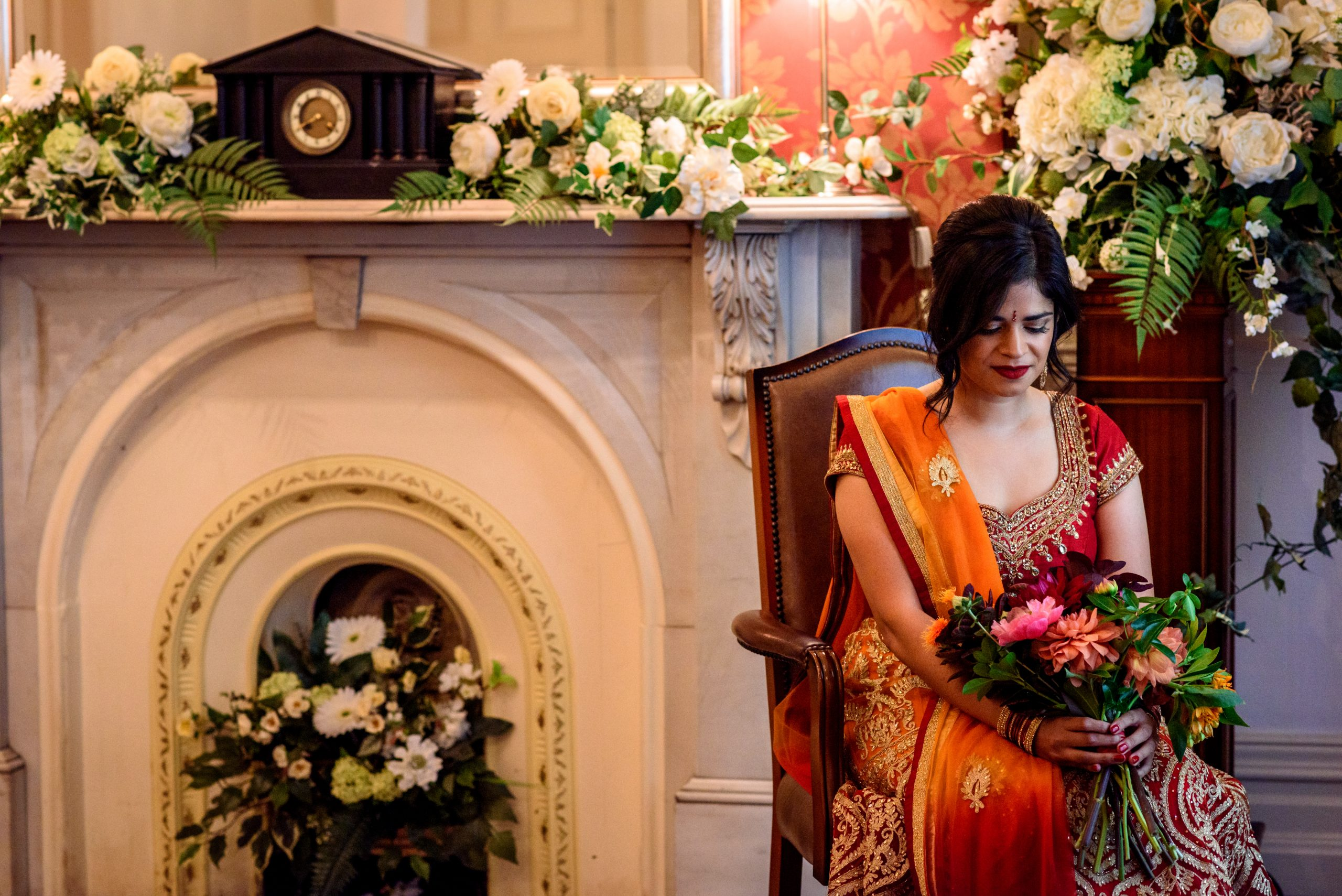 Indian Bride waiting for wedding ceremony at Southwark Registry Office