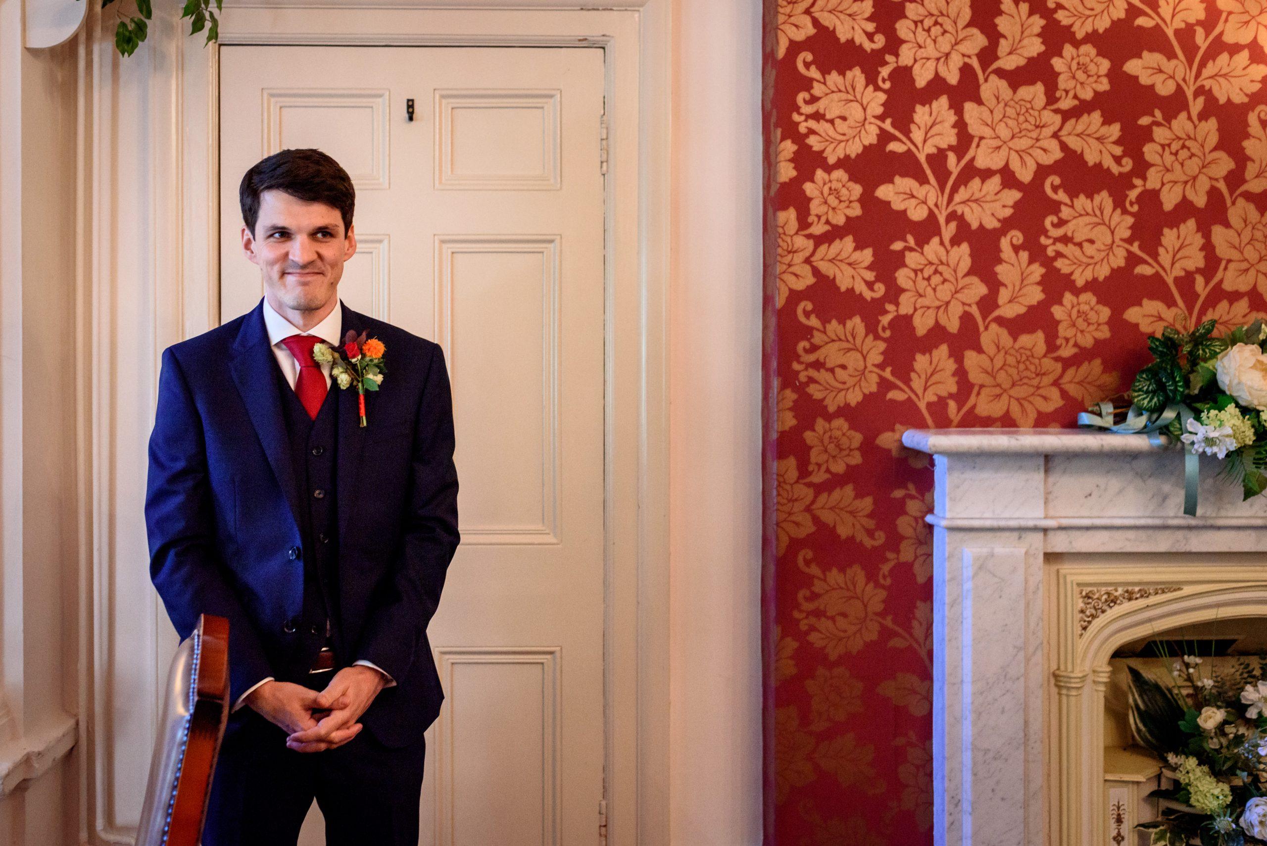 groom waiting for bride at Southwark Registry Office