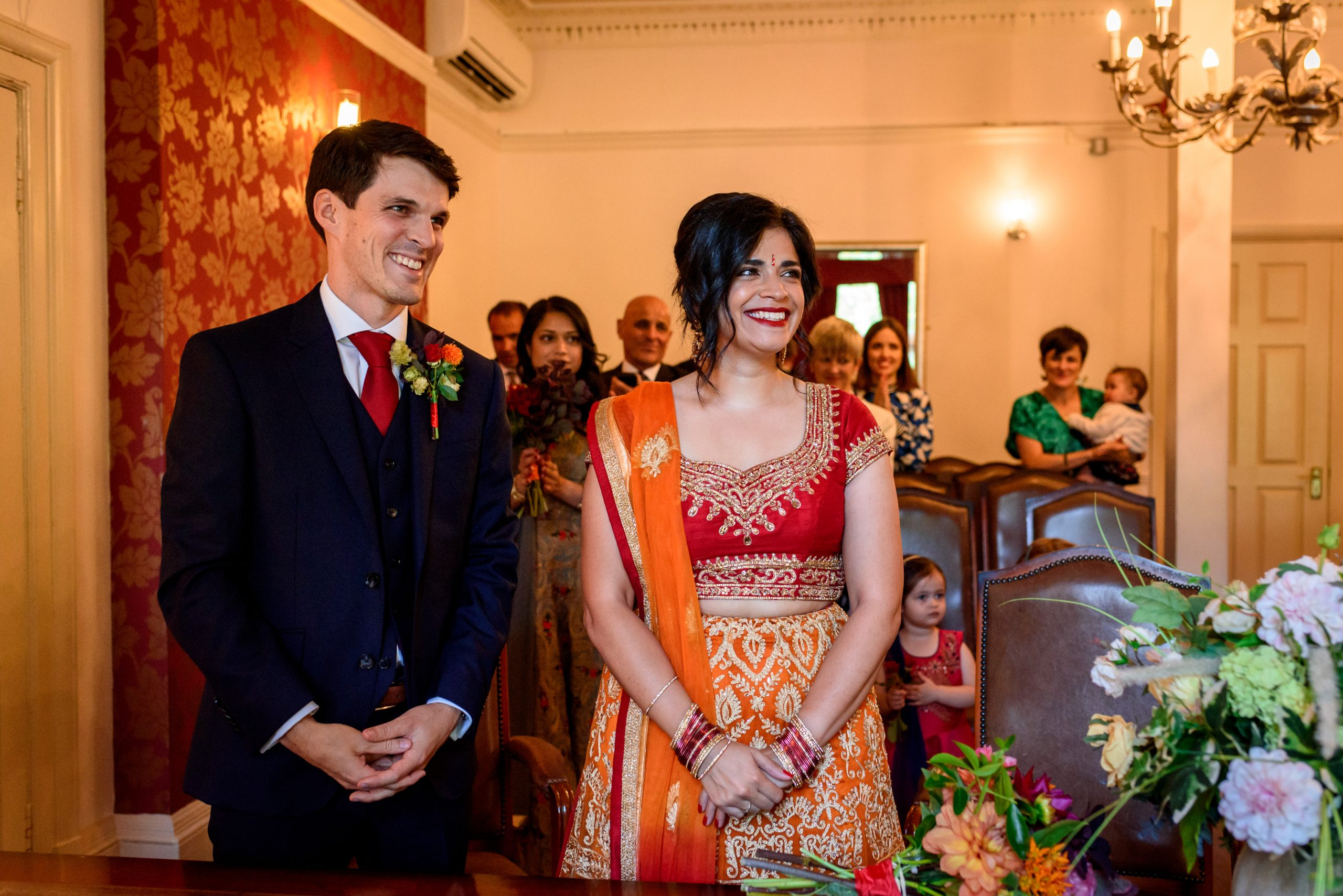 wedding couple at ceremony at Southwark Registry Office in London