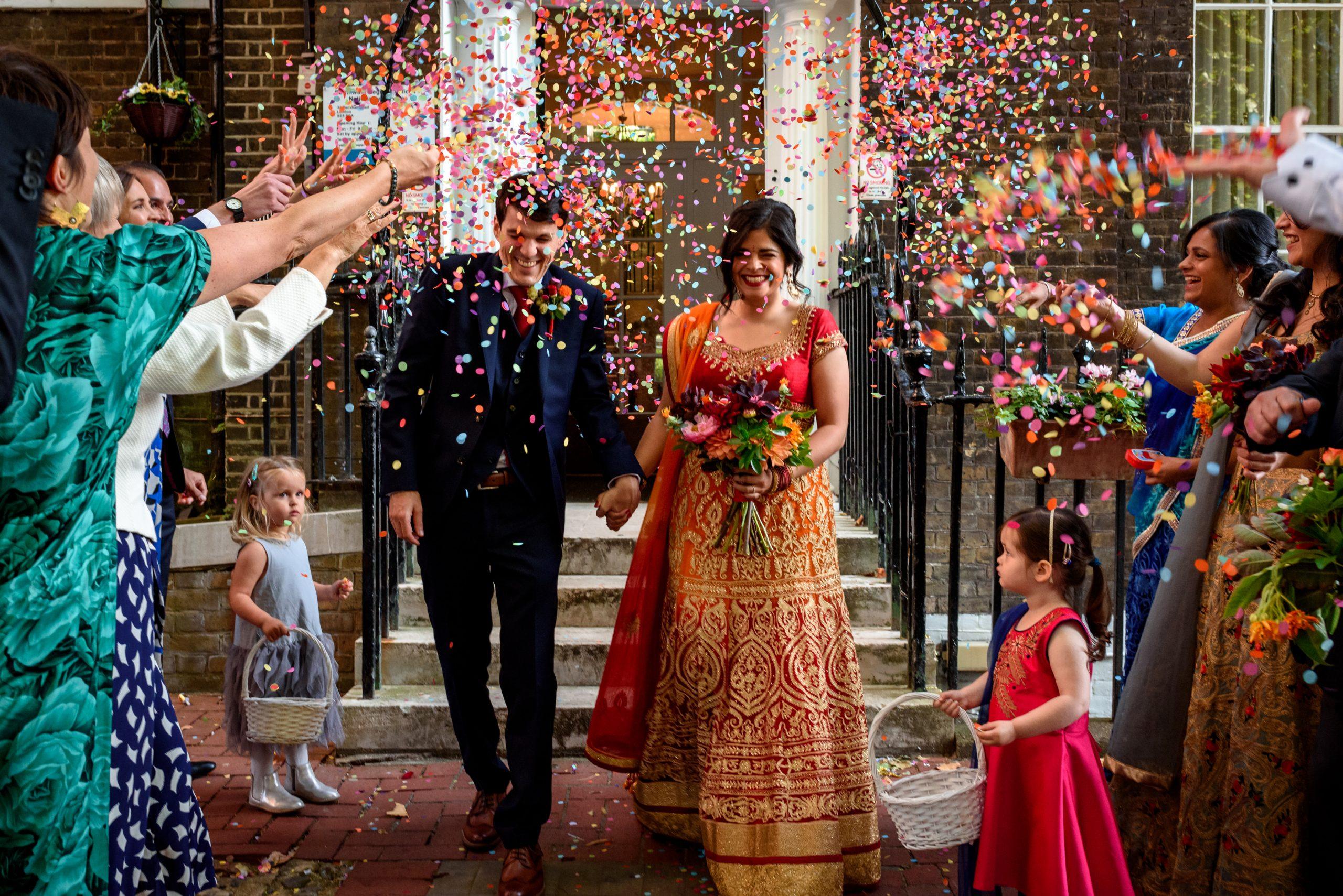 wedding confetti in front of Southwark Registry Office