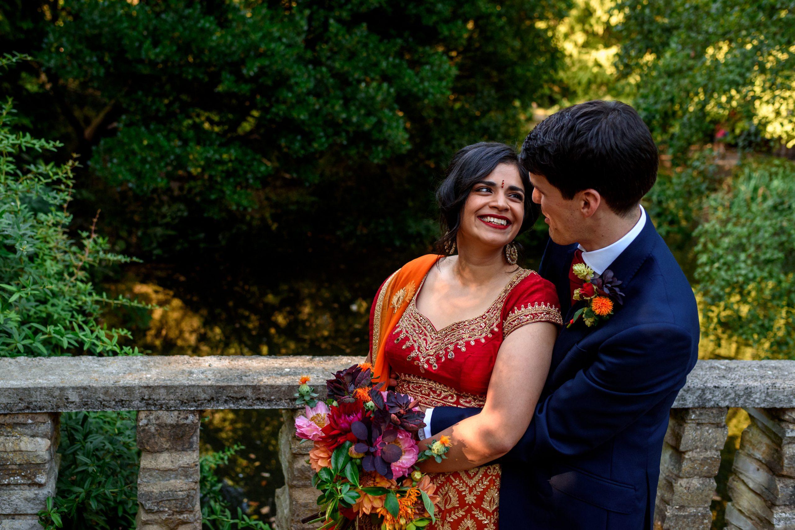 indian bride taking photos in Peckham Rye Park