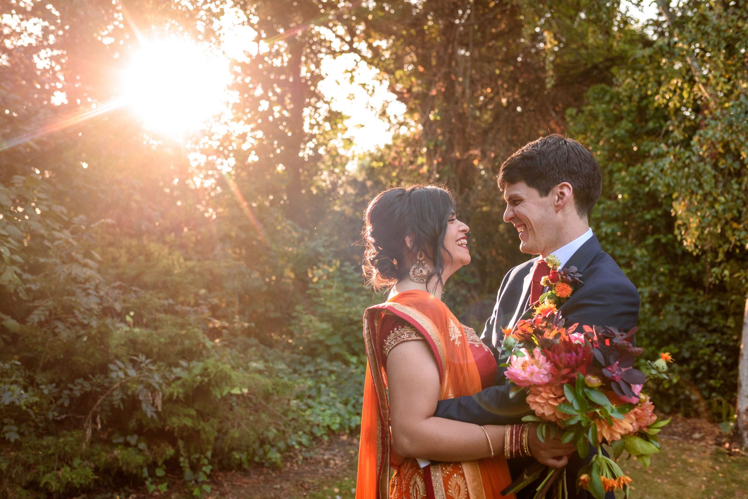 wedding couple taking photos in Peckham Rye Park