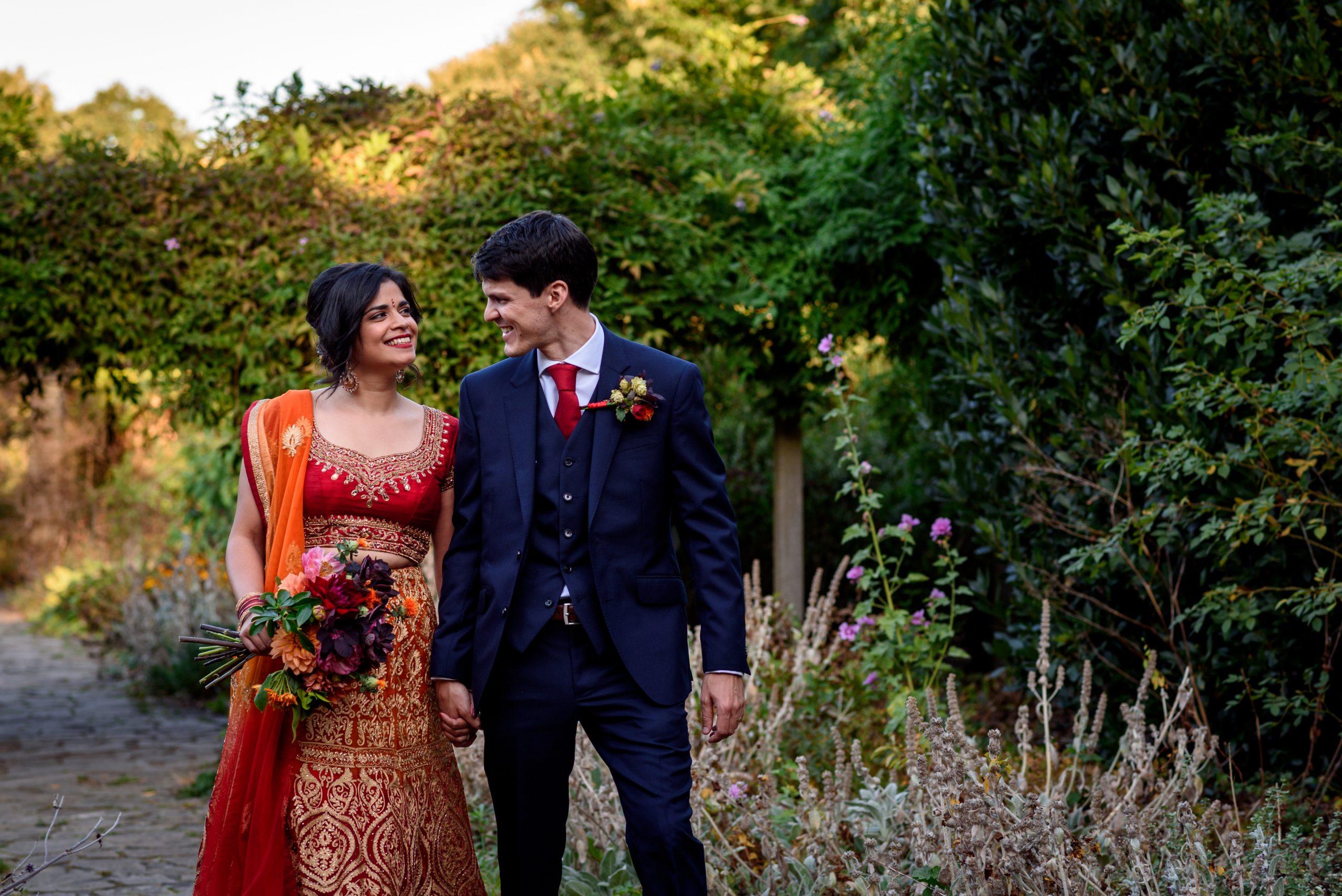 wedding couple taking photos in Sexby Garden Peckham Rye Park