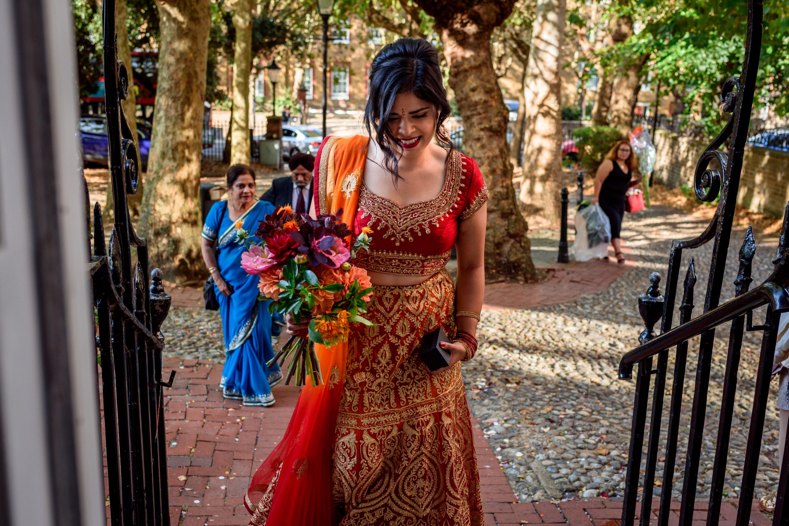 Bride arriving at Southwark Registry Office in London